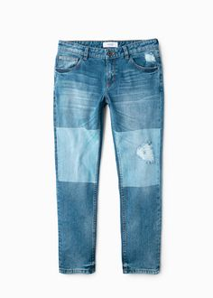 Contrast cropped relaxed jeans