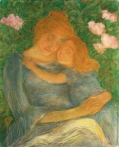 Gaetano Previati opere, madre con bambina, la pianticella