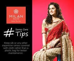  Saree Care Tips!  presents tips on How To care of Saree. visit site : www. Lehenga Saree, Sari, Kanchipuram Saree, Milan Design, Kochi, Saree Wedding, Draping, Custom Design, Bollywood