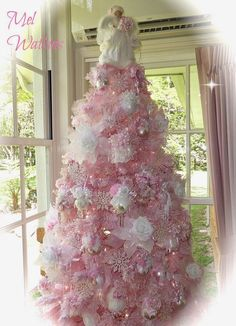 My Shabby Chic Pink Christmas tree Pink Christmas Decorations, Pink Christmas Tree, Beautiful Christmas Trees, Shabby Chic Christmas, Victorian Christmas, Christmas Home, Vintage Christmas, Christmas Holidays, Christmas Mantles