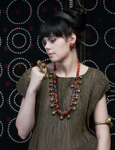 Heirloom brass jewelry , carnelian Ao necklace Nagaland info@singkiang.com