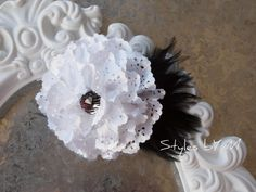 White and Black Flower and Feather Hair clip.