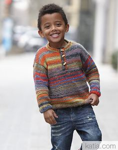 Revista Niños 83 Otoño / Invierno | 19: Niños Jersey | Verde-Naranja-Azul-Gris