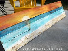 DIY: Lake Girl Paints: Sunset Beach Art from Fence Boards - Beach Decor/Sea Shells - Diy deko Sunset Beach, Beach Art, Beach Wood, Sunset Art, Arte Pallet, Art Plage, Beach Signs, Lake Signs, Beach Crafts