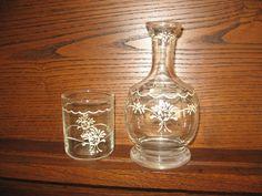 Handpainted vintage water carafe and cup set by KatieQuinnDesigns,