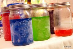 Jolly Rancher Vodkas.  Using mini, clear, twist-top wine bottles (Gallo Family bottles have a mouth that fits JRs), you create a delicious drink set.  Served best on ice with club soda :)