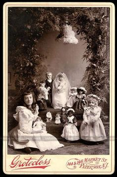Remarkable antique Victorian cabinet card photo of a pretty little girl staging a porcelain doll wedding, circa late There's a bride in a lovely gown, a handsome groom, and a wedding party. Vintage Children Photos, Vintage Girls, Vintage Pictures, Vintage Images, Victorian Photos, Antique Photos, Vintage Photographs, Old Photos, Victorian Toys
