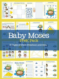 Baby Moses PreK Pack- 18 pages of free printable preschool activities- prewriting, cutting, counting activities, word puzzles, lacing cards, and more