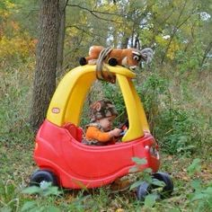 Love this! Deer on a Playskool Car for kids :-)