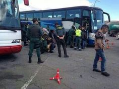 Autobuses retenidos a la entrada de Madrid