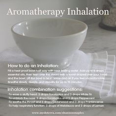 Inhalation brings the vapors filled with Essential Oils up your nose, and and into your lungs for soothing relief. For more info, or to order oils at 25% off retail, join the conversation on Facebook at https://www.facebook.com/eosandmore or www.mydoterra.com/shannonmaples