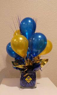 Blue and Gold Balloon Centerpiece using 5 balloons. Reunion Centerpieces, Class Reunion Decorations, Graduation Party Centerpieces, Balloon Centerpieces, Graduation Decorations, Balloon Topiary, Graduation Ideas, Graduation Gifts, Topiary Centerpieces