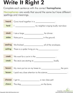 """Does your child know when to use the word """"sealing"""" versus """"ceiling?"""" Help your little scholar differentiate between two homophones in this worksheet. Worksheets For Grade 3, Homeschool Worksheets, Grammar Activities, Educational Activities For Kids, Reading Worksheets, Vocabulary Building, Grammar And Vocabulary, Grammar Lessons, Synonym Worksheet"""