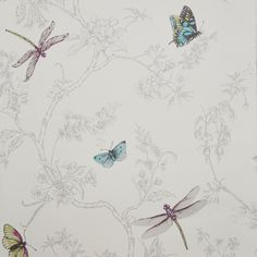 Graham & Brown Contour White Nature trail Silver effect Embossed Wallpaper