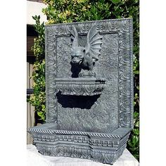 Gargoyle Wall Fountain is made of marble dust and heavy duty resin.