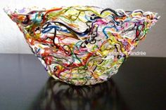 Yarn and embroidery floss bowl made with paper mache paste:  Combine ½ cup flour and 2 cups cold water in a bowl. Boil 2 cups of water in a sauce pan and add the flour and cold water mixture. Bring to a boil again. Remove from heat and add 3 tablespoons of sugar. Let cool. The paste will thicken as it cools.