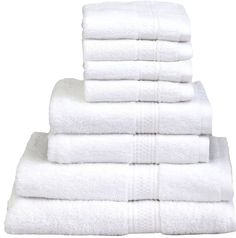 8 Piece Towel Set (White); 2 Bath Towels, 2 Hand Towels & 4 Washcloths - 100% Cotton By Utopia Towels