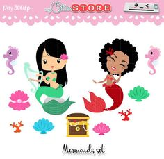 Collection Chibi Mermaids Clipart. Treasure chest Sea horse