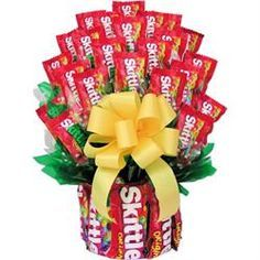 Skittles Candy Bouquet - Our #1 selling summer gift! http://www.giftbasketsfordelivery.com/skittles-candy-bouquet.aspx#