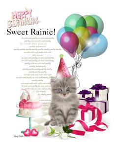 """Happy Birthday Sweet Rainie!"" by mcheffer ❤ liked on Polyvore featuring art"