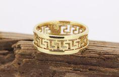 Vintage Wedding Band Greek Key Ring by FergusonsFineJewelry