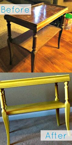 Side Table Before-After Using Chalk Paint