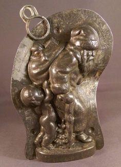 Anton Reiche Antique Chocolate Mold Santa with angel helper   eBay