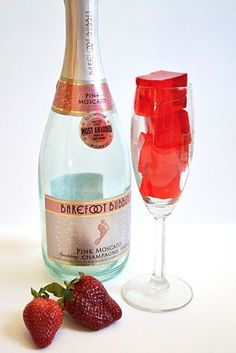 """Strawberry champagne jello shots are a fun way to have a drink and dessert all in one """"shot""""! @budgetbytes"""