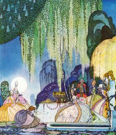 """An illustration for Felicia, Or The Pot of Pinks by Kay Nielsen from the collection of fairy tales, """"In Powder and Crinoline."""""""