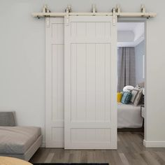 Colonial Elegance Paneled Wood Unfinished Barrel Barn Door without Installation Hardware Kit Door Size: x Barn Door Closet, Sliding Closet Doors, Barn Door Pantry, Bifold Barn Doors, Diy Barn Door, Diy Door, Bedroom Doors, Closet Bedroom, Master Bedroom