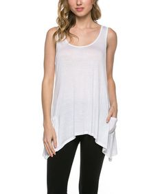 Love this White Sidetail Racerback Tank on #zulily! #zulilyfinds