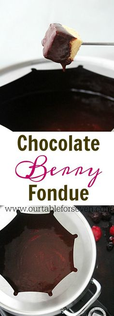 Creamy and Decadent Chocolate Berry Fondue from Table for Seven Best Chocolate Desserts, Chocolate Pies, Decadent Chocolate, Chocolate Muffins, Chocolate Cookies, Melting Chocolate, Fondue, Dessert For Dinner, Desert Recipes