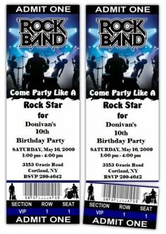 Rock Concert Red birthday ticket invitations are available ...