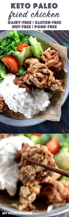 My PCOS Kitchen - Keto Paleo Fried Chicken - Gluten-free Dairy-free Grain-free Pork-Free Nut-free Fried Chicken - Delicious low carb Japanese Karaage Dairy-free Fried Chicken topped with a creamy Japanese-style tartar sauce. Paleo Fried Chicken, Low Carb Chicken Recipes, Paleo Recipes, Low Carb Recipes, Real Food Recipes, Free Recipes, Paleo Meals, Healthy Dinners, Easy Recipes