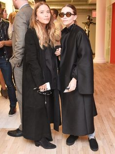 Pin for Later: 84 Styling Hacks We Learned From Mary-Kate and Ashley Olsen Suede and Satin Will Always Help You Steal the Spotlight Ashley and Mary-Kate at a CFDA meeting in 2015.
