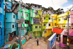 Part of the Favela Painting project started by Dutch designers Jeroen Koolhas & Dre Urhahn in Vila Cruzeiro, Brazil (photo by Haas)