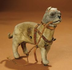 Toy Bulldog, Pull Toy, Leather Harness, Vintage Dog, Old Dogs, Antique Toys, Pet Portraits, Lion Sculpture, Old Things