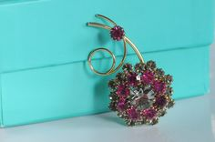 Vintage Brooch Pink Smokey Rhinestones Gold Tone by PageScrappers, $14.99
