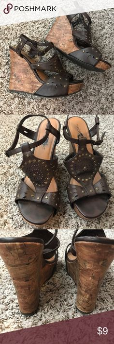 Rue 21 Wedges! Cute brown wedges with gold accents. Worn 3 times. EUC! Rue 21 Shoes Wedges