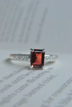1.26 ct. Garnet and White Topaz Silver Ring/ Engagement Ring/ January Birthstone/ Size 6 Ring  $40.04