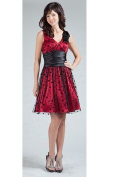 Red Knee-length Bow Holiday Sleeveless Homecoming Dress HD1544