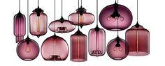 Hand-blown modern glass pendant lighting in Plum