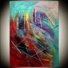 """Extra Large 52"""" Vertical Acrylic Painting On Canvas, Minimalist Painting Canvas Art, Red Teal , HAND PAINTED Original Art."""