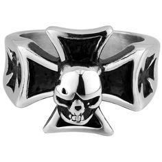 IvyRobes Men's Stainless Steel Large Cross Skull Ring Band Vintage Fashion Classic Gothic Biker Silver Black, Size 13 -- Awesome products selected by Anna Churchill