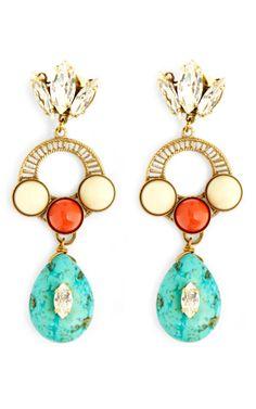 Crystal Leaf With Turquoise Drop Earrings by Anton Heunis
