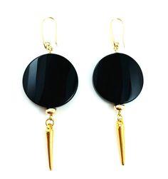 BLACK AGATE EARRINGS BY JOANA CZELLNIK
