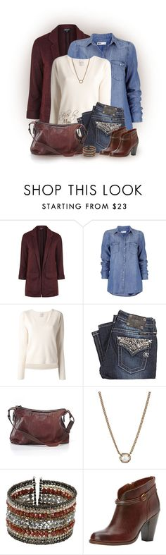 """Miss Me ♥ Boyfriend (2.10.17)"" by stylesbymimi ❤ liked on Polyvore featuring Topshop, Gotha, Miss Me, Kendra Scott, NAKAMOL and Frye"