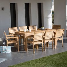Salon de jardin en teck brut table et 8 fauteuils Pilano : Decoclico Table Extensible, Outdoor Furniture Sets, Outdoor Decor, Design, Home Decor, Gardens, Chair, Woodwind Instrument, Armchairs
