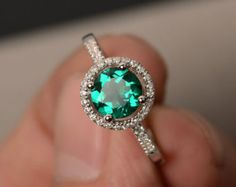 Emerald Rings Halo Ring Green Gemstone Ring Engagement Rings for Girl Sterling Silver 925