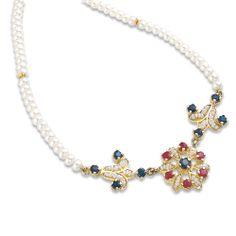 Collana RICAMI in oro 18kt con microperle, perle coltivate, rubini e zaffiri - 13062